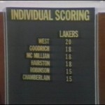 9 janvier 1972 Los Angeles Lakers - Milwaukee Bucks boxscore LA
