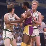 Danny Ainge, Magic Johnson et Larry Bird 1985
