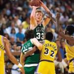 Larry Bird, Greg Kite et Magic Johnson 1985