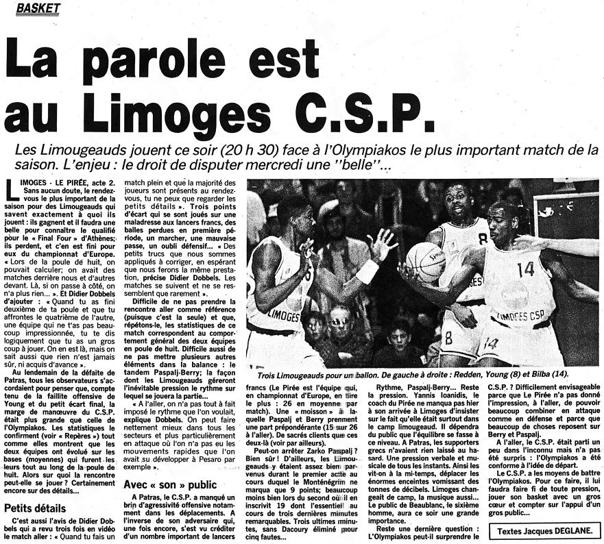 Populaire du Centre, 15 mars 1993
