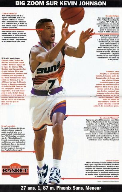 Big zoom sur Kevin Johnson, paru dans Mondial Basket n°27, juillet/août 93.