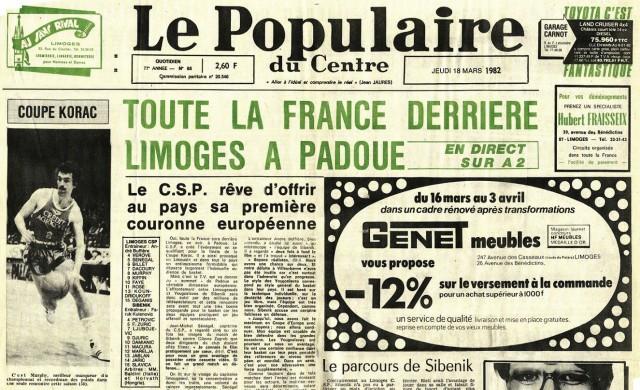 Populaire du Centre - 18 mars 1982 - Finale coupe Korac